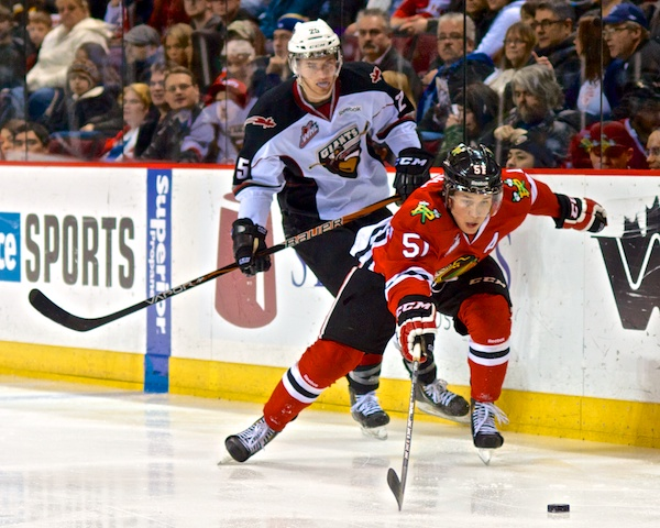 Derrick Pouliot nearly scored in the dying seconds of the first period, then finally did midway through the second. The Winterhawks led 2–0 at the time of this posting. Photo by Jason Kurylo for Pucked in the Head.