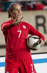 Team Canada defender Rhian Wilkinson directs traffic prior to a throw-in during an international friendly. Photo courtesy of Soccer Canada.