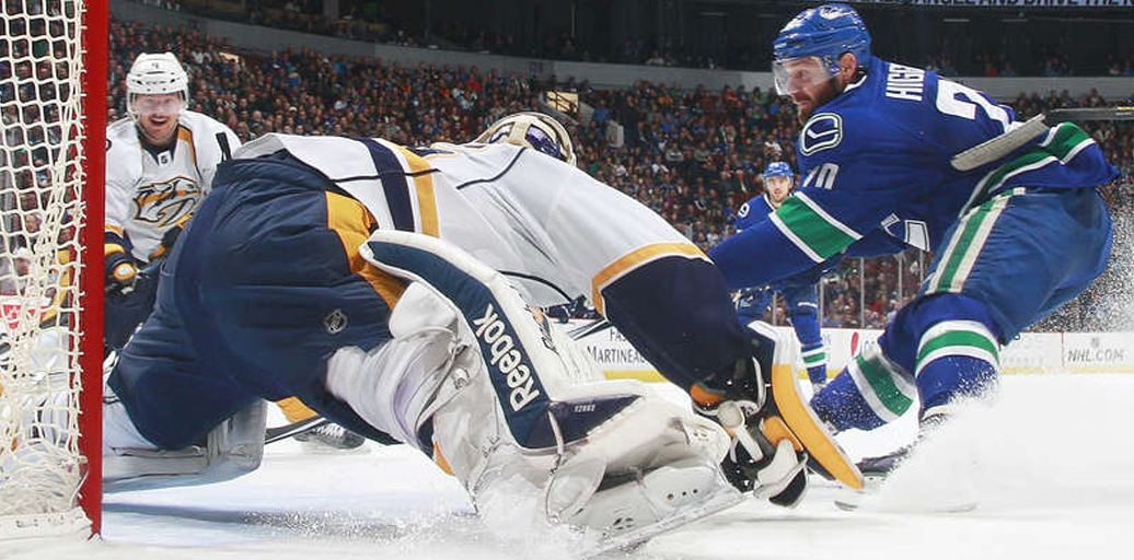 Pekka Rinne of the surprising Nashville Predators stopped all but one shot against the Canucks. Photo ripped from canucks.com.