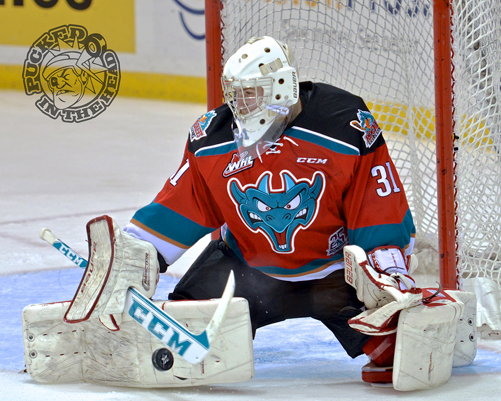 Brodan Salmon makes a save during his fourth WHL start.