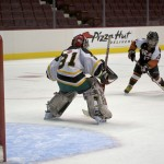 Semiahmoo Ravens skater Eric Drotar (#17 ) takes a penalty shot vs Squamish Eagles at Rogers Arena. Photo by Jason Kurylo for Pucked in the Head.