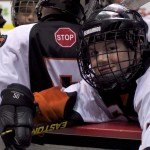 Semiahmoo Ravens skater Sam La Roue hams it up at the bench at Rogers Arena. Photo by Jason Kurylo for Pucked in the Head.