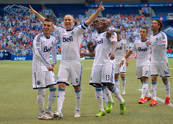 Whitecaps FC have had many reasons to celebrate on the Bell Pitch at BC Place this season — they've lost just one game so far, thanks to a stellar 1-2 punch up front of Kenny Miller (centre) and Camilo da Silva Sanvezzo. Photo by Jason Kurylo for Pucked in the Head.