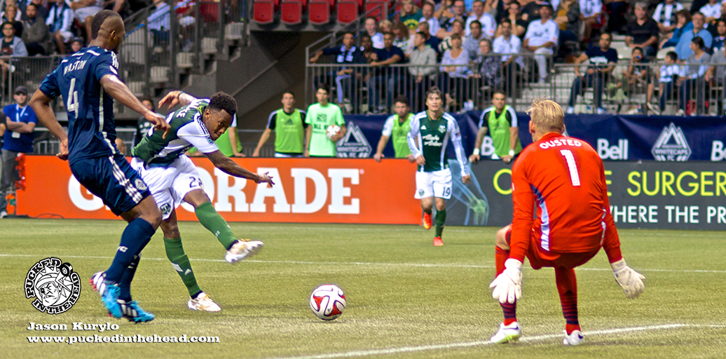 Darlington Nagbe shamed Matías Laba before knifing a lovely pass to Rodney Wallace, who embarrassed David Ousted. It was a perfect encapsulation of the second half. Photo by Jason Kurylo for Pucked in the Head.