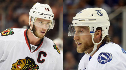 Jonathan Toews and Steven Stamkos go head to head in the 2015 Stanley Cup final. Images wontonly stolen from the interweb.