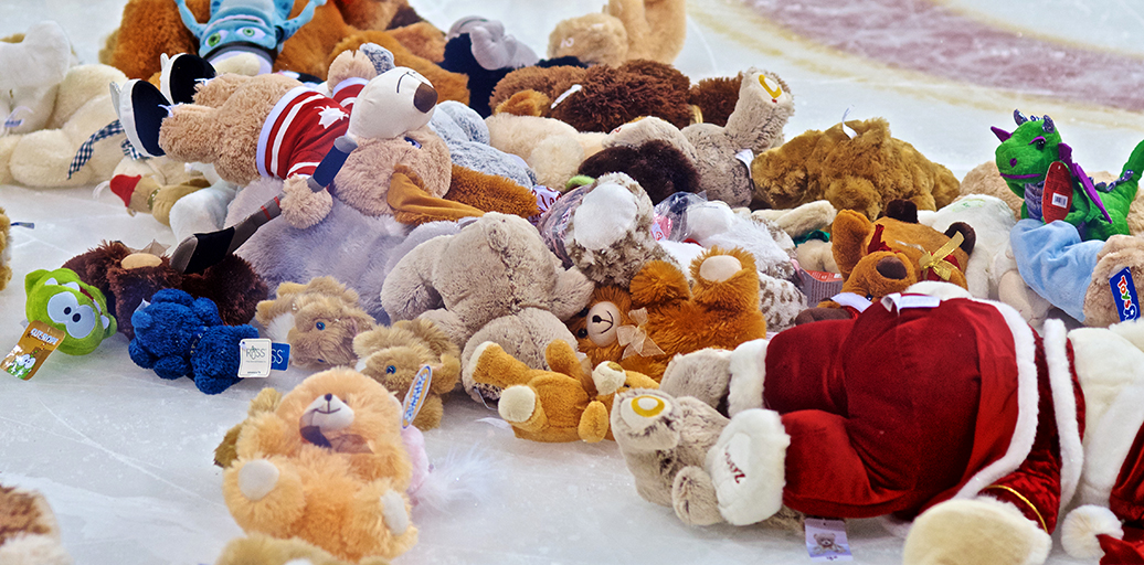 Just a sample of the toys that littered the ice after Jackson Houck's early third period goal. Photo by Jason Kurylo for Pucked in the Head.