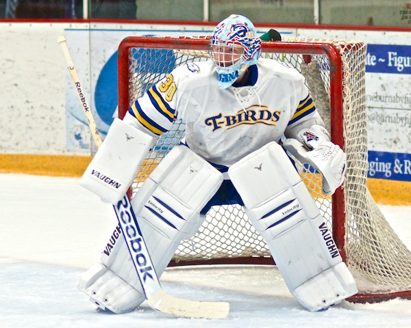Matt Hewitt stopped 15 shots in the second, third and overtime periods as the UBC Thunderbirds defeated U of North Dakota 3–2. Check that awesome Regina Pats mask from Hewitt's WHL days. Photo by Jason Kurylo for Pucked in the Head.