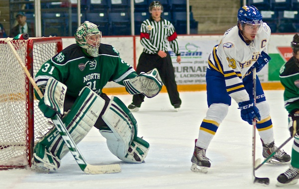 Zane Gothberg had a strong game for the University of North Dakota, but didn't make quite enough. The UBC Thunderbirds tied the game with 52 seconds left in regulation, then salted it away in overtime at Bill Copeland Arena. Photo by Jason Kurylo for Pucked in the Head.