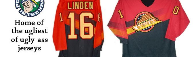 This bad boy may just be the ugliest of all Canucks jerseys. And that's saying somethin'.