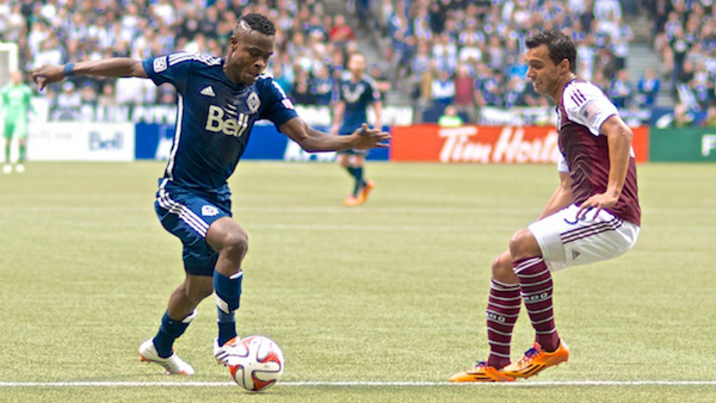 Gershon Koffie dribbling against a Colorado Rapids defender. Photo by Jason Kurylo for Pucked in the Head.