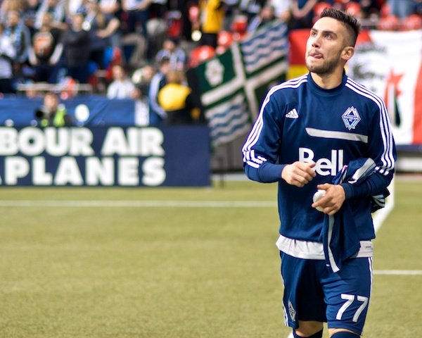 Fresh from the coast of Spain, newly minted designated player for Whitecaps FC Pedro Morales licks his lips at the prospect of booting goals in bunches in North America. He would score and set one up in his MLS debut. Photo by Jason Kurylo for Pucked in the Head.