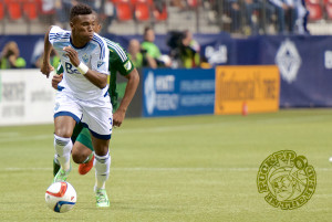 Sam Adekugbe in action for the Vancouver Whitecaps FC. Photo by Jason Kurylo for Pucked in the Head.