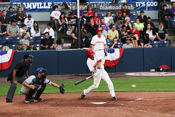 Vancouver Canadians first baseman LB Dantzler went 1-for-4 with a double against the Tri-City Dust Devils Photo by Miles Clark Photography courtesy of Vancouver Canadians Baseball.