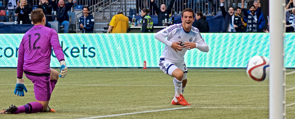 Octavio Rivero starts the celebration of his first-ever MLS goal as his left-footed shot crosses the line behind TFC goaltender Joe Bendik. The Vancouver Whitecaps went on to lose the game 3-1. Photo by Jason Kurylo for Pucked in the Head.