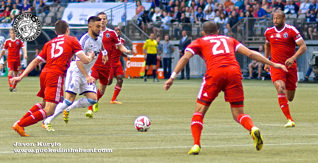 Pedro Morales was a one-man wrecking crew for the Whitecaps, at times taking on the entire Earthquakes back line to get the ball into position. Later he would score the club's first goal in 450 minutes of MLS play. Photo by Jason Kurylo for Pucked in the Head.
