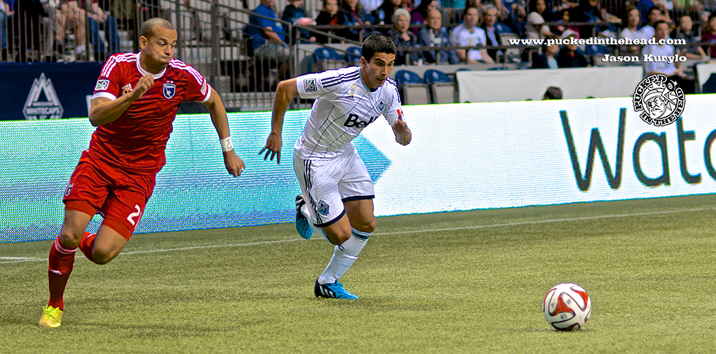 Seba Fernandez buzzed the San Jose Earthquakes defense all night, as the Whitecaps took a 2-nil decision at BC Place. Photo by Jason Kurylo for Pucked in the Head.