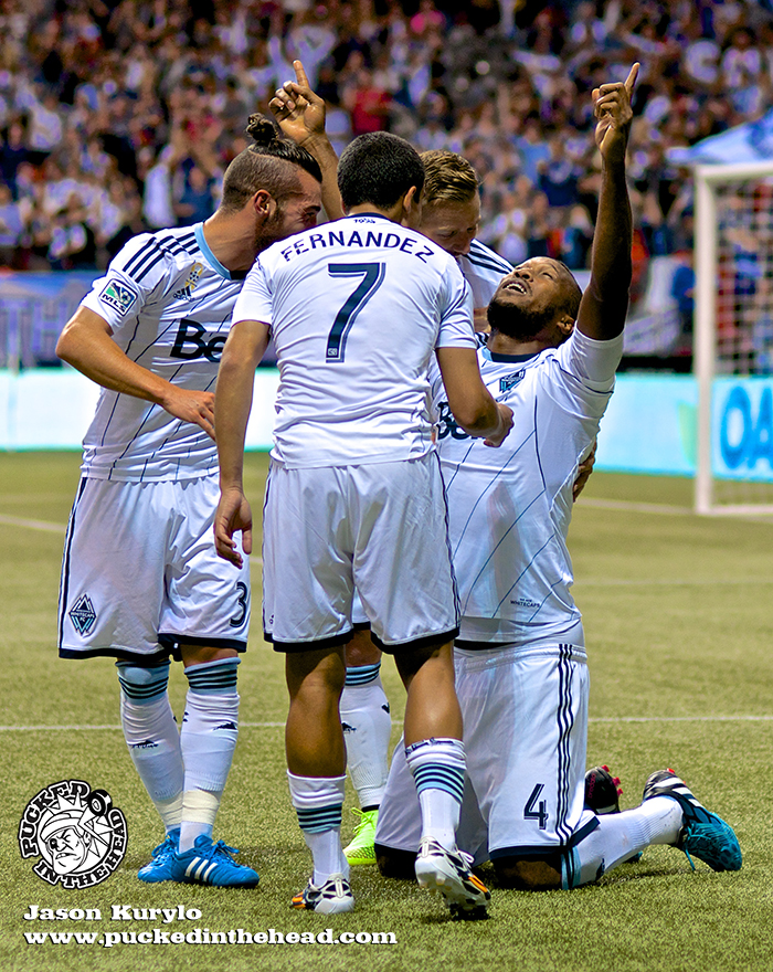 Kendall Waston celebrates his first MLS goal, a gloriously aggressive header off a corner kick. Photo by Jason Kurylo for Pucked in the Head.