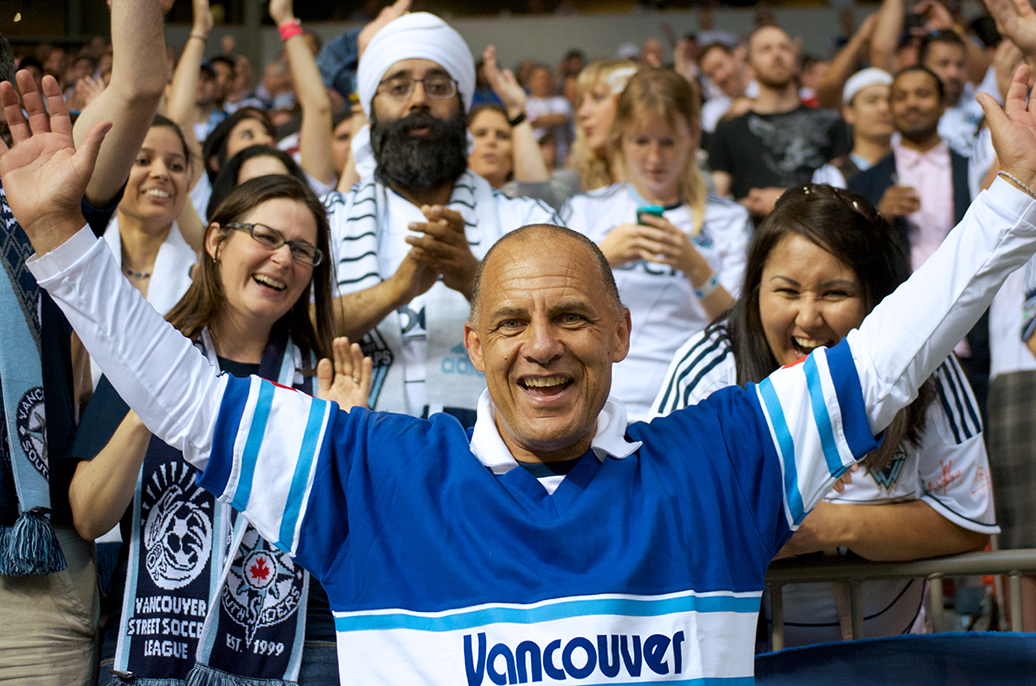 Carl Valentine was one of the darlings of NASL soccer in its heyday, helping the Vancouver Whitecaps to its only SoccerBowl trophy in 1979. Today he works as an ambassador for the MLS incarnation of the club. Photo by Jason Kurylo for Pucked in the Head.
