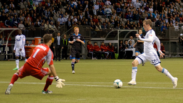Corey Hertzog scored a dramatic second half goal to lift Whitecaps FC to a 2-0 win over FC Edmonton on May 1, 2013. Photo by Jason Kurylo for Pucked in the Head.