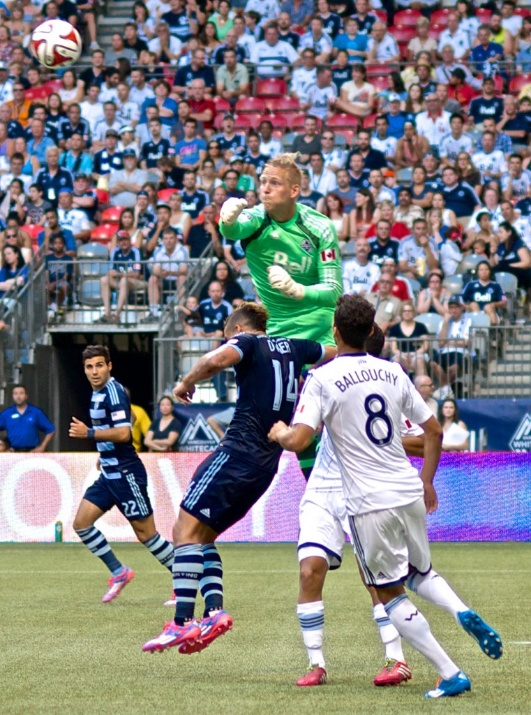 Keeper David Ousted played his most confident match as a Vancouver Whitecaps during a 2-0 victory over Sporting KC, the top club in the MLS Eastern Conference. Photo by Jason Kurylo for Pucked in the Head.