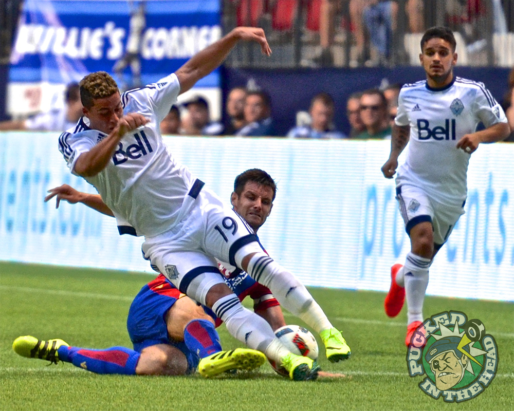 Erik Hurtado fell down. It was Scott Dann's fault. The Vancouver Whitecaps drew at two with Crystal Palace FC of the British Premier League at BC Place. Photo by Jason Kurylo for Pucked in the Head.