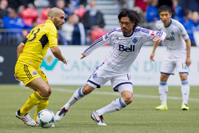 Vancouver Whitecaps FC import Daigo Kobayashi scored his first MLS goal with a magnificent 35-yard strike early in the first half against the Columbus Crew. Photo courtesy of the Vancouver Whitecaps FC.