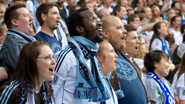 In response to Kenny Miller's brace of goals, Hervé (@1stLineCentre) leads the Southsiders in a stirring rendition of Ludvig van Beethoven's adaptation of Freidrich Schiller's poem, Ode to Joy. Photo by Jason Kurylo for Pucked in the Head.