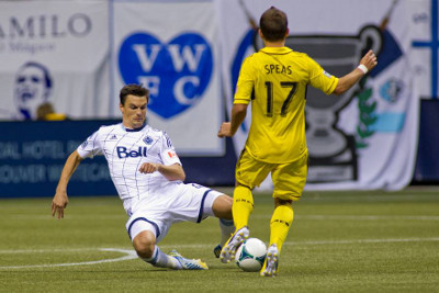 Vancouver Whitecaps FC defender Alain Rochat had an effective game on the back end, but could have handed off set pieces to other, more offensively-booted teammates in the 2-1 win over Columbus. Photo courtesy of the Vancouver Whitecaps FC.