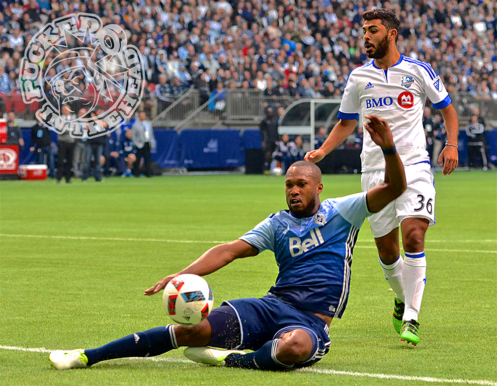 Kendall Waston dives for a ball inside the box. Photo by Jason Kurylo for Pucked in the Head.