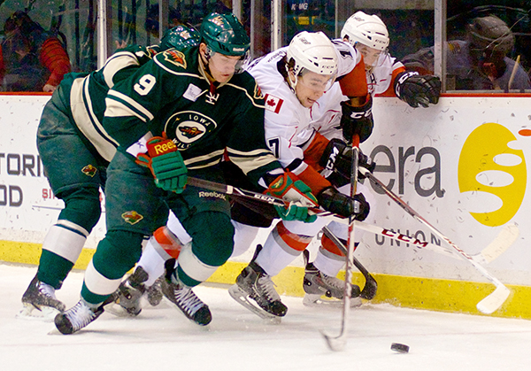 Iowa Wild forward Erik Haula scored twice to power his team past the Abbotsford Heat Thursday night. Photo by Jason Kurylo for Pucked in the Head.