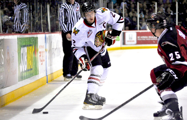 Portland Winterhawks captain Troy Rutkowski got an assist, but somehow managed to notch a -3 on the night, as his team trounced the Vancouver Giants 9-5 in WHL action November 9. Photo by Jason Kurylo for Pucked in the Head.