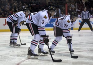 Defenseman Seth Jones (#3, the centre of your picture) is touted as a potential #1 overall pick in the 2013 NHL Entry Draft, should that league ever bother to play again. For now anyway he's a monster on the Portland Winterhawks blueline. Photo by Jason Kurylo for Pucked in the Head.