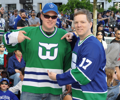 You've gotta trust me on this one -- this Whalers jersey worn by a fan at a Canucks party in 2011 has FERRARO on the back. Photo by Jason Kurylo for Pucked in the Head.