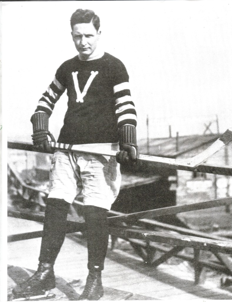 Hockey Hall of Famer Frank Patrick wearing the 1913 Vancouver Millionaires uniform.