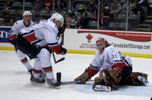 Barry Brust makes one of 39 saves on the night to lead the Abbotsford Heat past the Texas Stars 2-1 in a shootout. Photo by Jason Kurylo for Pucked in the Head.