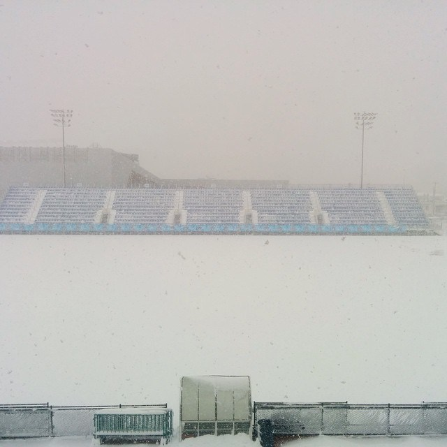 Clarke Field is green sometimes. The rest of the time it looks like this. Photo from Whitecaps FC.