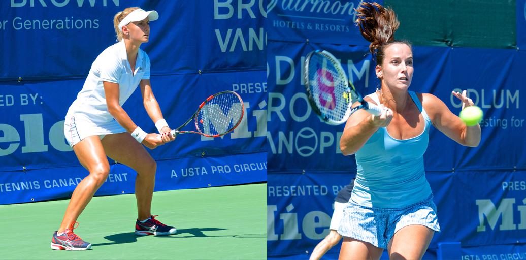Jarmila Gajdosova (right) defeated Lesia Tsurenko in the 2014 VanOpen women's final. Will the 2015 champ have a higher ranking? Photos by Jason Kurylo for Pucked in the Head.